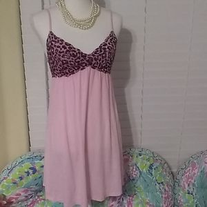 PINKbyVS cotton candy pink leopard lace nightgown